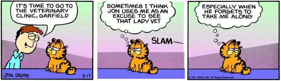 Оригинал комикса про Гарфилда от 17 марта 1981 года