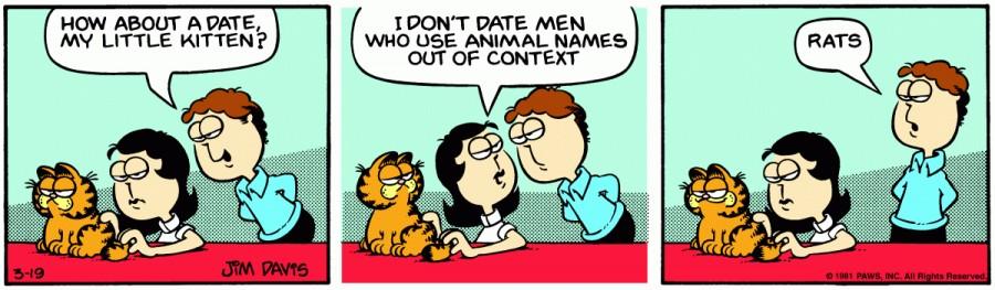 Оригинал комикса про Гарфилда от 19 марта 1981 года