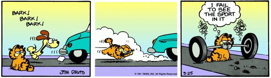 Оригинал комикса про Гарфилда от 25 марта 1981 года