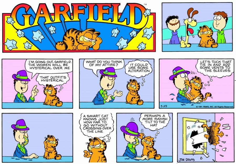Оригинал комикса про Гарфилда от 29 марта 1981 года