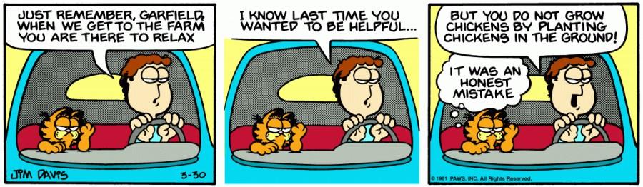Оригинал комикса про Гарфилда от 30 марта 1981 года
