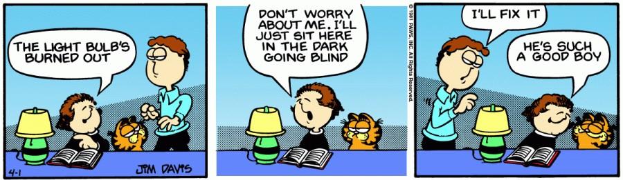 Оригинал комикса про Гарфилда от 01 апреля 1981 года