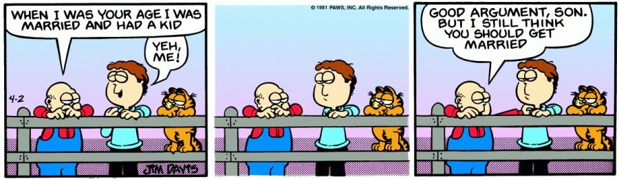 Оригинал комикса про Гарфилда от 02 апреля 1981 года