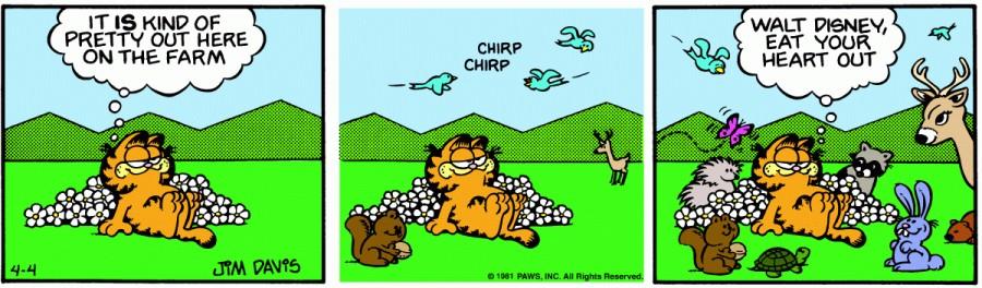 Оригинал комикса про Гарфилда от 04 апреля 1981 года