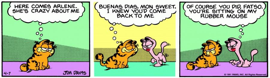 Оригинал комикса про Гарфилда от 07 апреля 1981 года