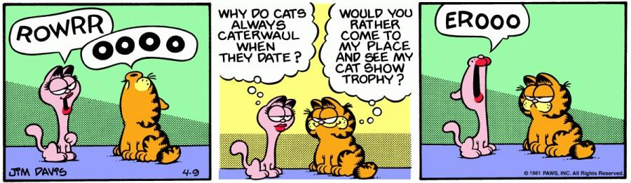 Оригинал комикса про Гарфилда от 09 апреля 1981 года