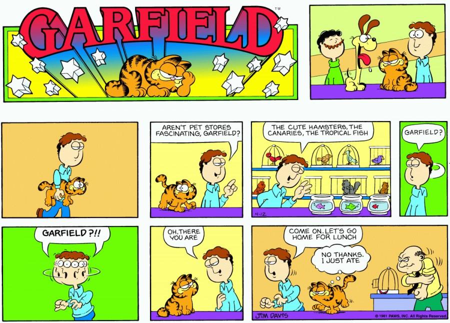 Оригинал комикса про Гарфилда от 12 апреля 1981 года