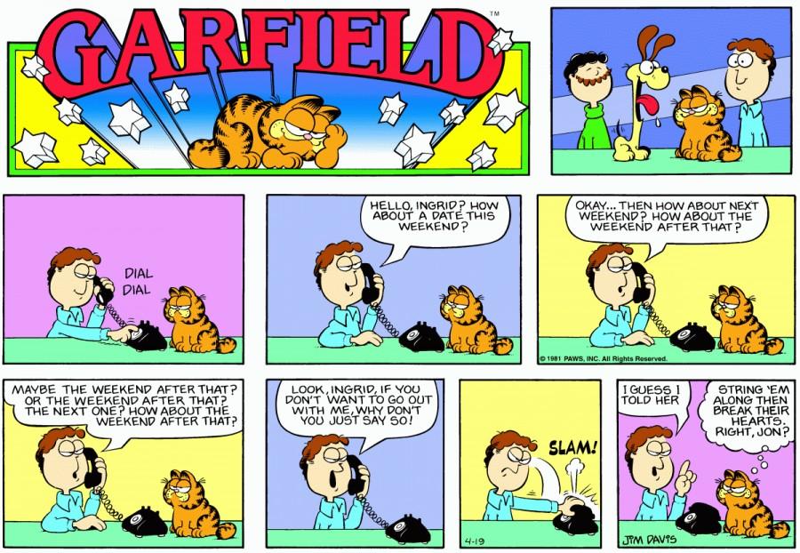 Оригинал комикса про Гарфилда от 19 апреля 1981 года