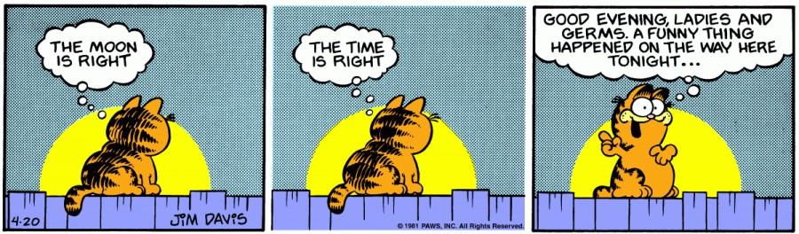 Оригинал комикса про Гарфилда от 20 апреля 1981 года