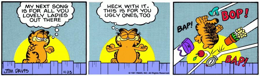 Оригинал комикса про Гарфилда от 23 апреля 1981 года