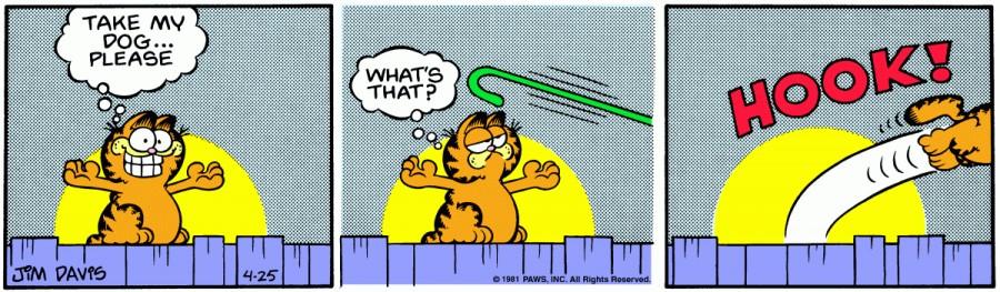 Оригинал комикса про Гарфилда от 25 апреля 1981 года