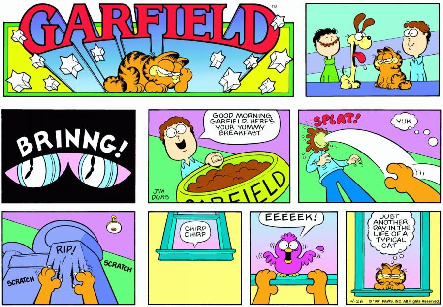 Оригинал комикса про Гарфилда от 26 апреля 1981 года