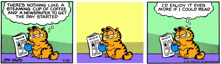 Оригинал комикса про Гарфилда от 28 апреля 1981 года