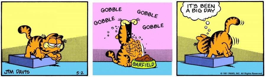 Оригинал комикса про Гарфилда от 02 мая 1981 года