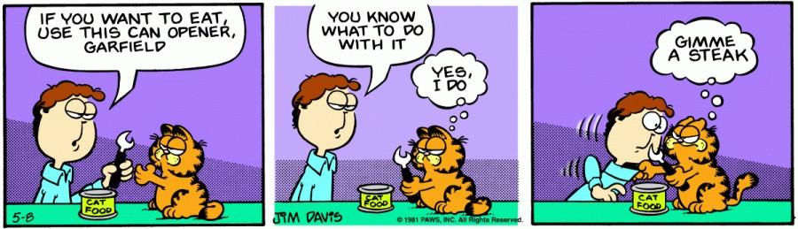 Оригинал комикса про Гарфилда от 08 мая 1981 года