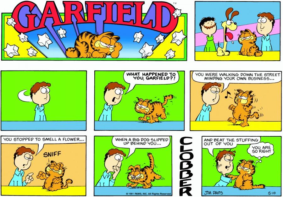 Оригинал комикса про Гарфилда от 10 мая 1981 года