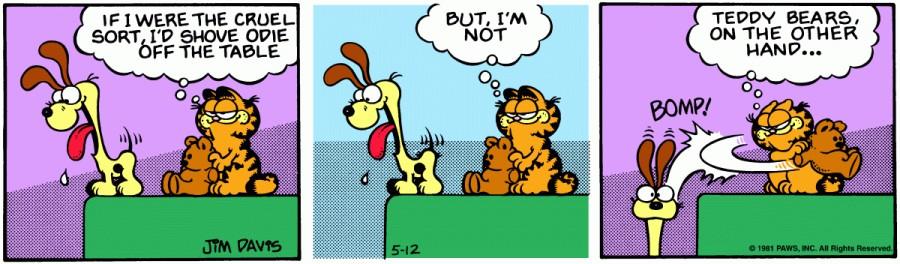 Оригинал комикса про Гарфилда от 12 мая 1981 года