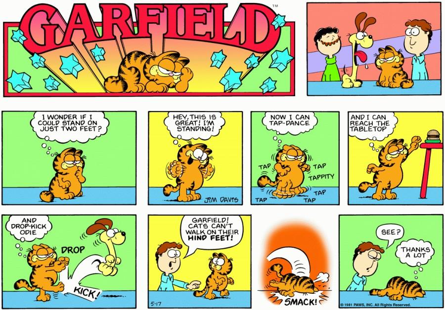Оригинал комикса про Гарфилда от 17 мая 1981 года