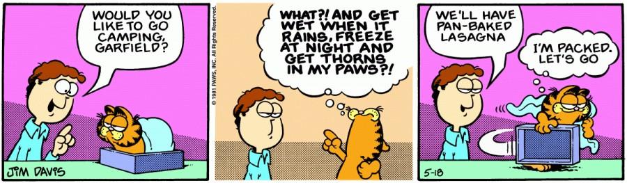 Оригинал комикса про Гарфилда от 18 мая 1981 года