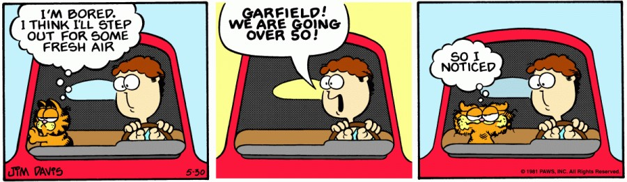 Оригинал комикса про Гарфилда от 30 мая 1981 года