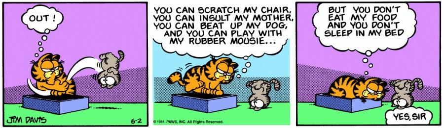 Оригинал комикса про Гарфилда от 02 июня 1981 года