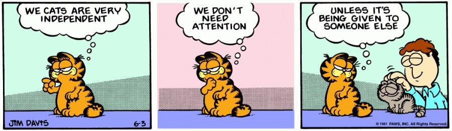 Оригинал комикса про Гарфилда от 03 июня 1981 года