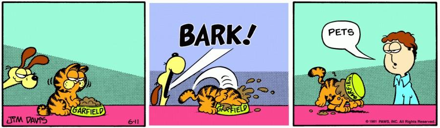 Оригинал комикса про Гарфилда от 11 июня 1981 года