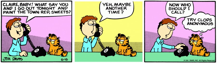 Оригинал комикса про Гарфилда от 16 июня 1981 года