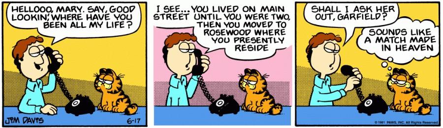 Оригинал комикса про Гарфилда от 17 июня 1981 года