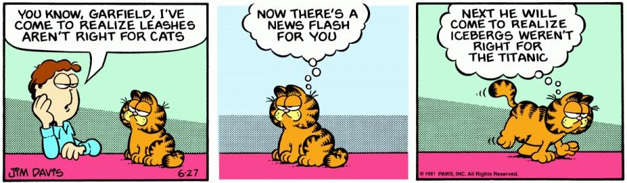 Оригинал комикса про Гарфилда от 27 июня 1981 года