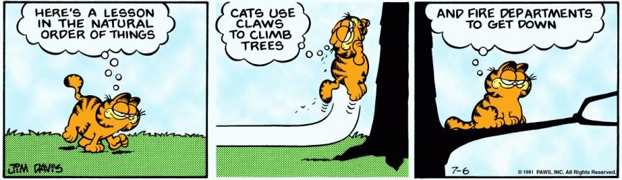 Оригинал комикса про Гарфилда от 06 июля 1981 года