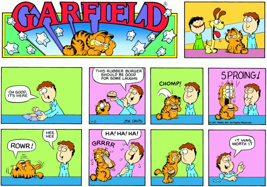 Оригинал комикса про Гарфилда от 12 июля 1981 года