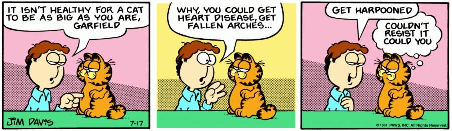 Оригинал комикса про Гарфилда от 17 июля 1981 года