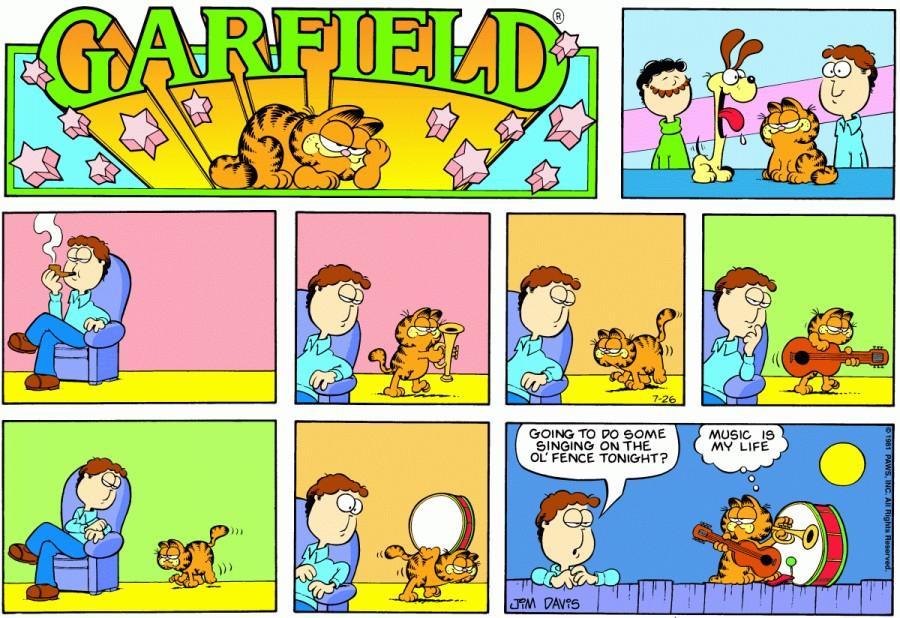 Оригинал комикса про Гарфилда от 26 июля 1981 года