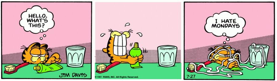 Оригинал комикса про Гарфилда от 27 июля 1981 года