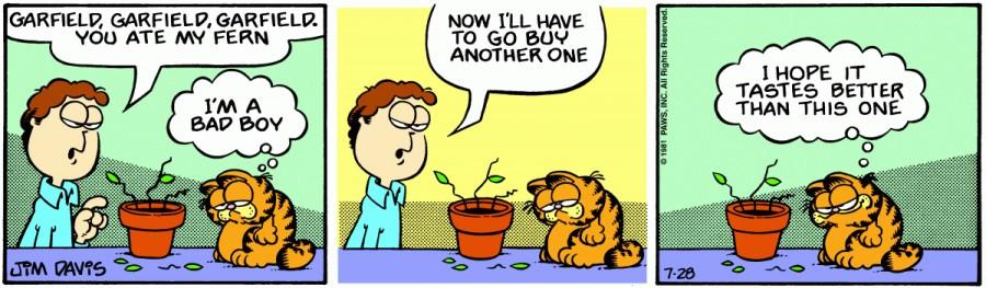 Оригинал комикса про Гарфилда от 28 июля 1981 года