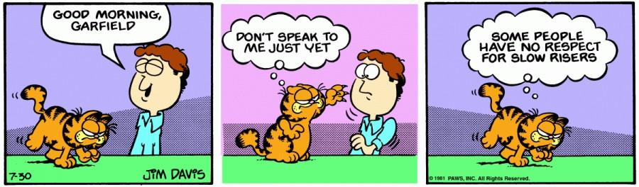 Оригинал комикса про Гарфилда от 30 июля 1981 года