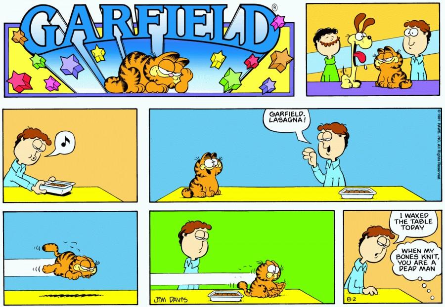 Оригинал комикса про Гарфилда от 02 августа 1981 года