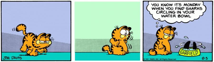 Оригинал комикса про Гарфилда от 03 августа 1981 года