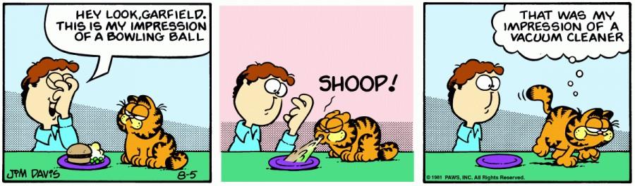 Оригинал комикса про Гарфилда от 05 августа 1981 года