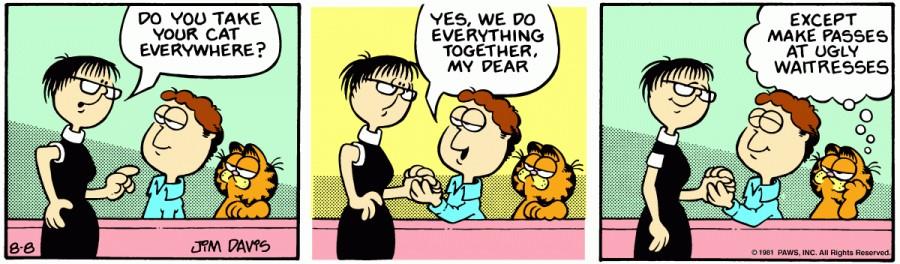 Оригинал комикса про Гарфилда от 08 августа 1981 года