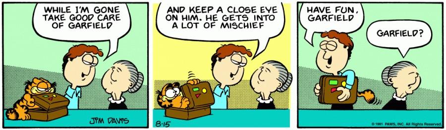 Оригинал комикса про Гарфилда от 15 августа 1981 года