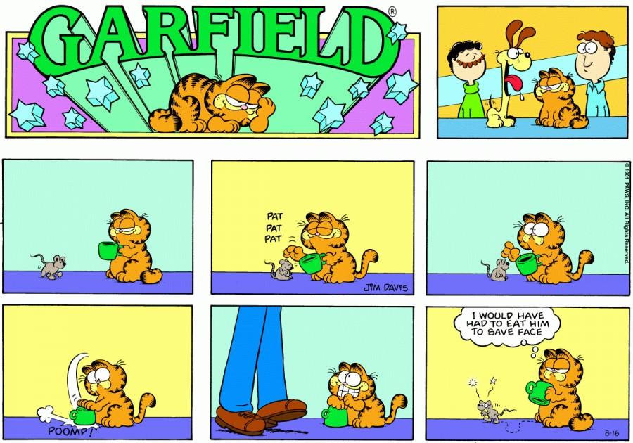 Оригинал комикса про Гарфилда от 16 августа 1981 года