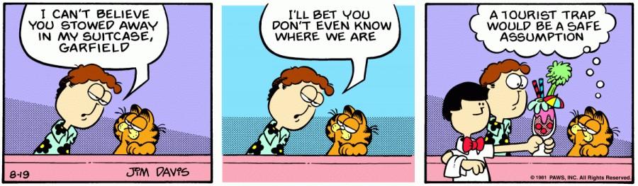Оригинал комикса про Гарфилда от 19 августа 1981 года