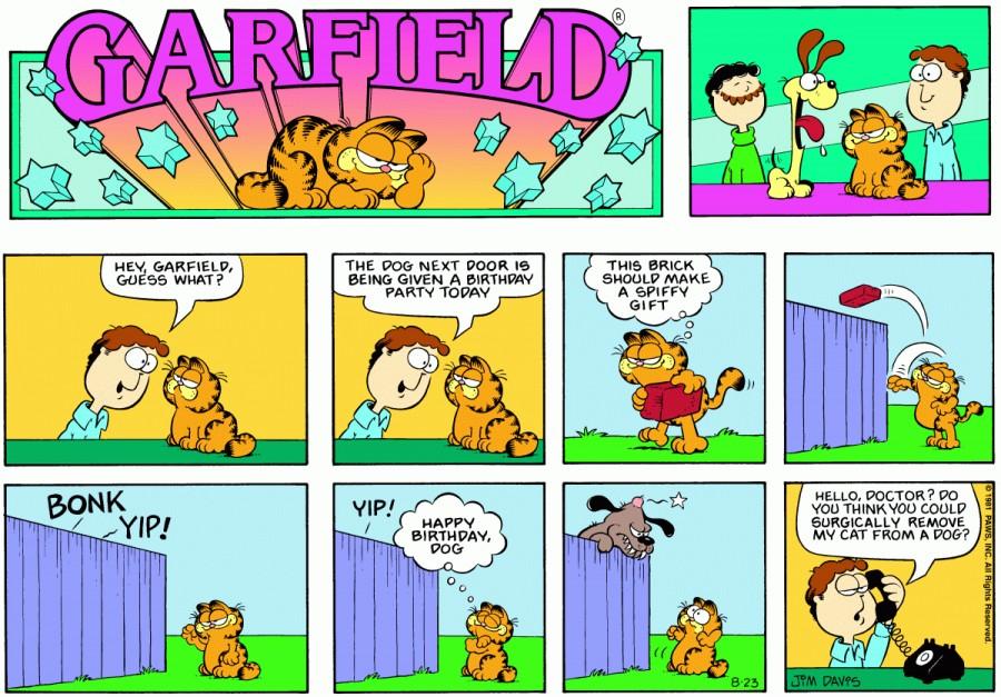 Оригинал комикса про Гарфилда от 23 августа 1981 года