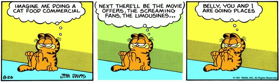 Оригинал комикса про Гарфилда от 26 августа 1981 года