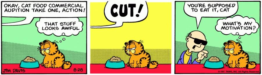 Оригинал комикса про Гарфилда от 28 августа 1981 года