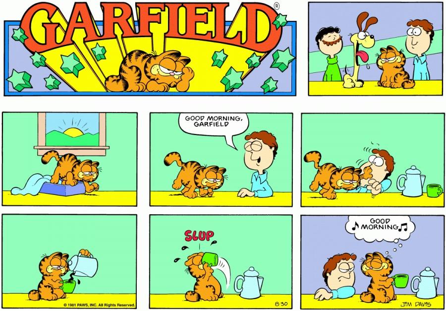 Оригинал комикса про Гарфилда от 30 августа 1981 года