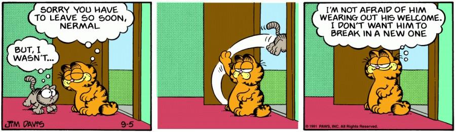 Оригинал комикса про Гарфилда от 05 сентября 1981 года
