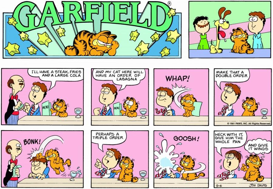 Оригинал комикса про Гарфилда от 06 сентября 1981 года